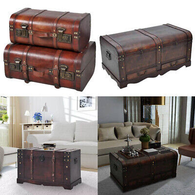 Large Trunk Wood Treasure Chest Home Antique Storage Blanket Box Coffee Table UK ()