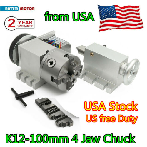 【USA】 CNC Engraving Machine Rotary 4th Axis 100mm 4jaw lathe chuck 6:1 Tailstock