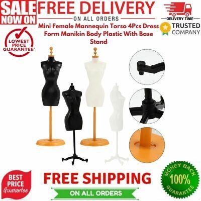 Mini Female Mannequin Torso 4pcs Dress Form Manikin Body Plastic With Base Stand