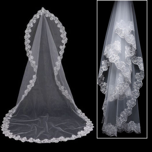 Cathedral Length Lace Edge Bride Wedding Bridal Veil Long Trails Accessories