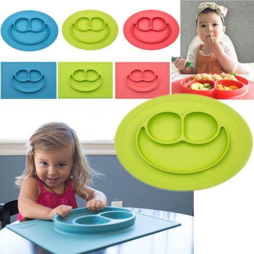 Baby Kids Silikon Mat Saugtisch Essen Fach Glückliche Tischset Teller Schüssel