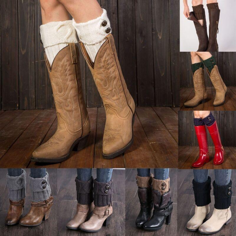 Donna maglia scaldamuscoli pulsante Crochet Leggings Slouch Boot calzini Cover
