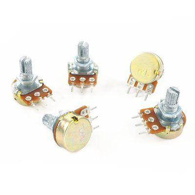 5 Pcs B10k Ohm Linear Taper Rotary B Type Potentiometer Panel Pot