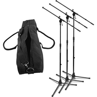 On-Stage MSP7703 Three Euroboom MS7701B Tripod Boom Microphone Stands with