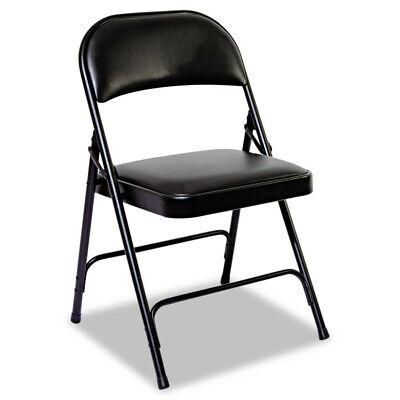 Alera Fc96b Steel Folding Chair W Two-brace Support Padded Seat Black New