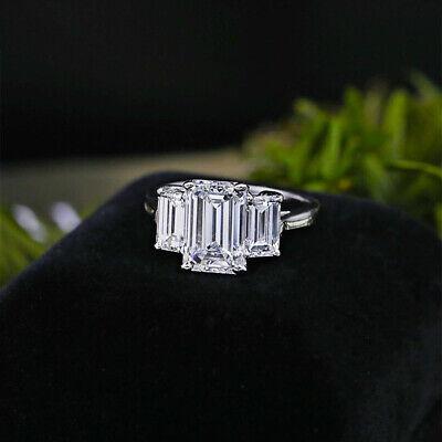 Emerald Cut 3Stone Diamond Ladies Wedding Engagement Ring 10k White Gold