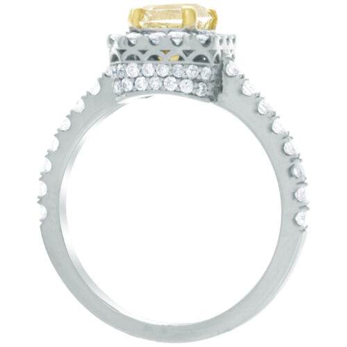 Fancy Yellow 2.2 CTW Radiant & Round Diamond Engagement Ring 18k GIA Certified
