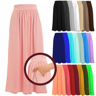 Women's Full Length Rayon Span Maxi Skirt with Pockets(Size:S-5X PLUS)USA 1026