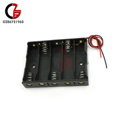 2pcs Plastic Battery Case Storage Box Holder With Wire Leads For 5 X Aa 7.5v 5aa