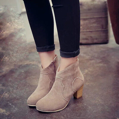 Women Short Cylinder Boots High Heels Boots Shoes Martin Boots Ankle Boots New 3