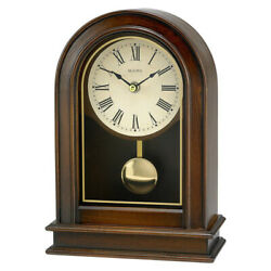Bulova Clocks Hardwick Decorative Wooden Table Top Pendulum Clock (Open Box)