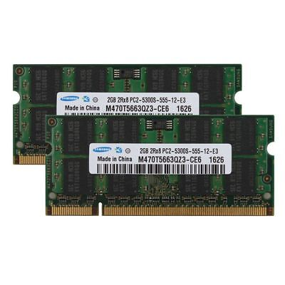 Original For Samsung 2X2GB DDR2 PC2-5300S 667MHZ 200Pin Laptop Memory Sodimm Ram