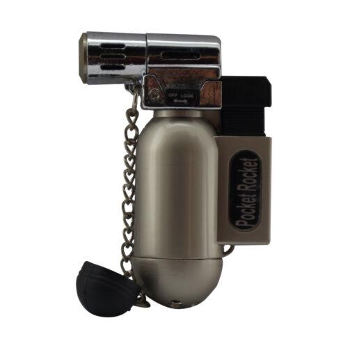 Pocket Rocket Angle Single Jet Flame Butane Cigarette Cigar Torch Lighter – Brn