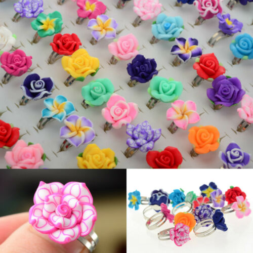 Wholesale 100ps Jewelry Lots Mixed Adjustable Resin Flower Crystal Children Ring