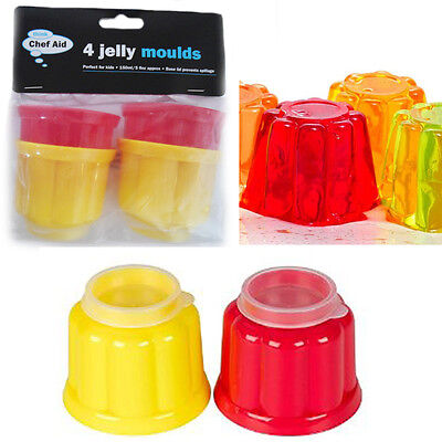 4 Mini Jelly Moulds Chef Aid Party Plastic Mould Dome Jellies With Lid Base