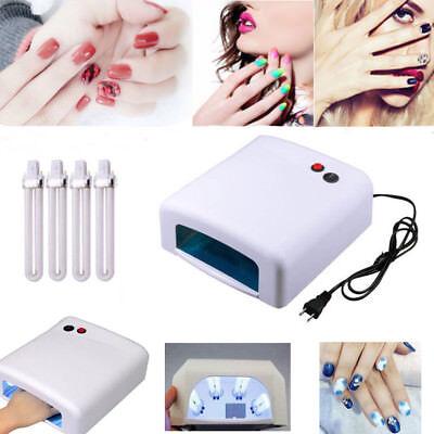 (Pro Nail Polish Dryer Lamp LED UV Gel Acrylic Curing Light Spa Kit + 4 tubes 36W)