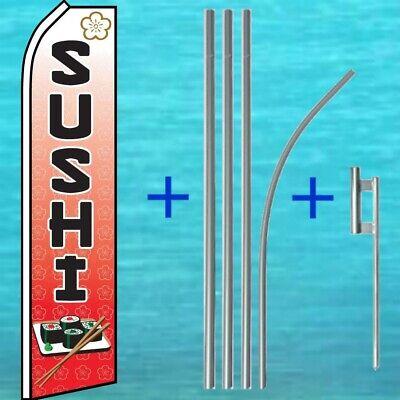 Sushi Flutter Flag Pole Mount Kit Advertising Sign Feather Swooper Wind Banner