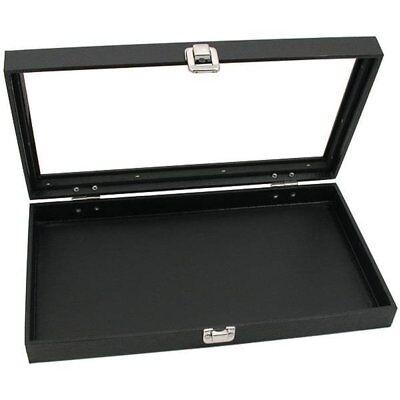 Glass Top Black Cufflinks Jewelry Showcase Storage Organizer Display Case Box