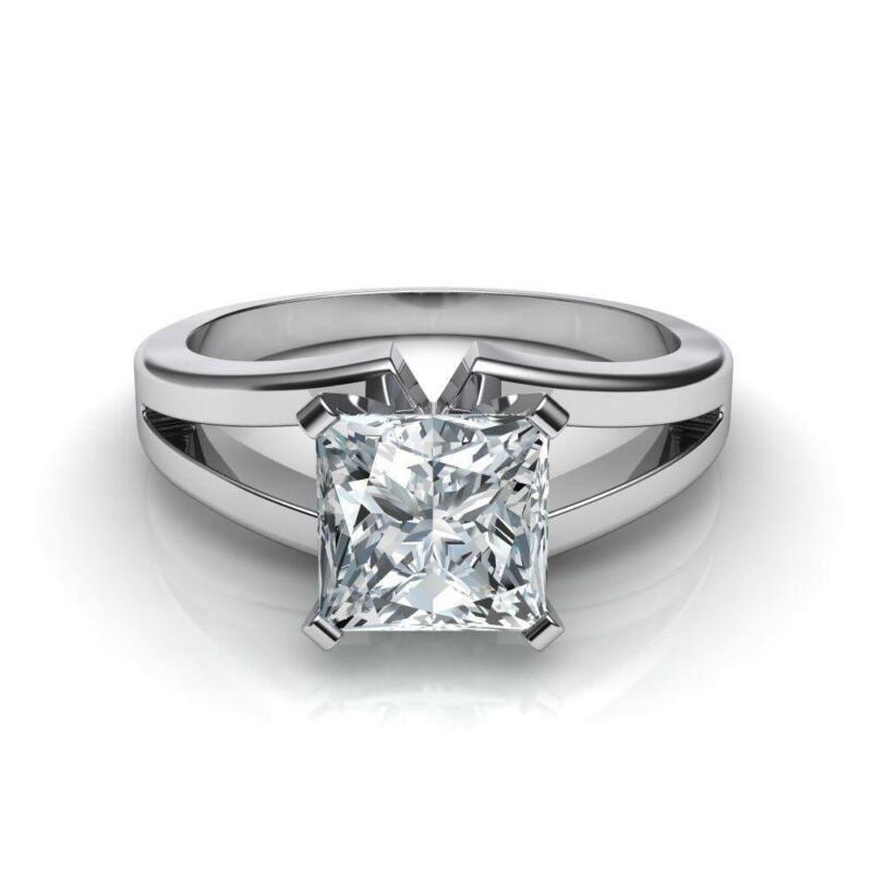 Diamond Princess Square Ring Split Shank 18k White Gold Vs1 Real Size 6.5 8 9