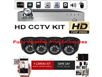 HD CCTV Security Camera Kit. 4x HD Cameras, HD DVR with Hard Drives, Cables. Full Kit.