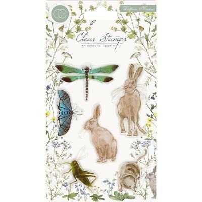 WILDFLOWERS MEADOW ANIMALS Clear Rubber Stamp Set Craft Consortium CCSTMP004 - Animals Rubber Stamp Set