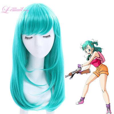 Dragon Ball Bulma Women Long Teal Green Anime Straight Cosplay Wig Hair USA SHIP - Teal Wig