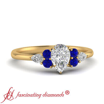 1 Ctw Pear Shaped Diamond 18K Yellow Gold Engagement Ring With Sapphire Gemstone