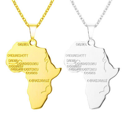 Africa Necklace Gold Color Pendant Chain African Map Gift for Men/Women Jewelry