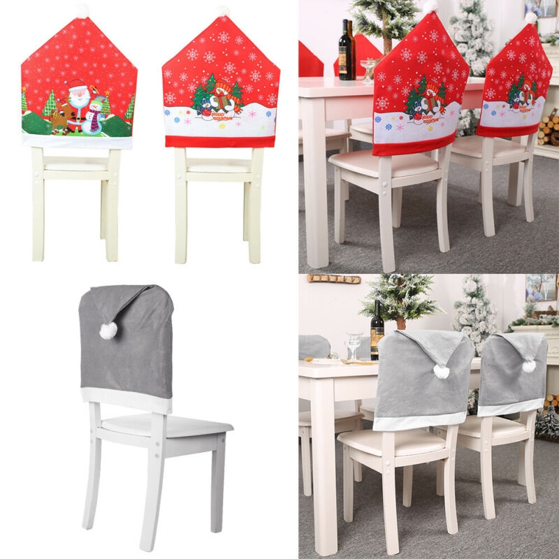 Christmas Chair Covers Dining Seat Decoration Santa Claus Xmas Hat Home Decor N Ebay