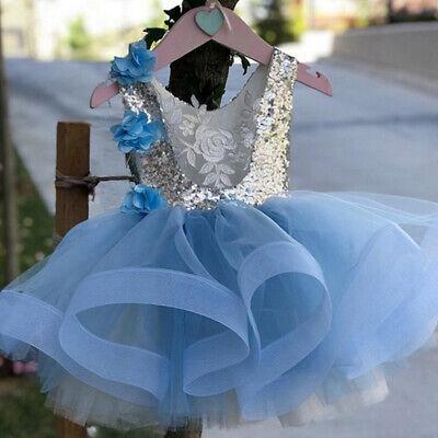 US Flower Girls Dress Princess Kids Baby Party Pageant Wedding Bridesmaid - Baby Blue Flower Girl Dress