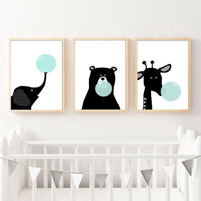 Black White Elephant Bear Bubbles Canvas Poster Nursery Art Print Kid Room - Elephant Room Decor