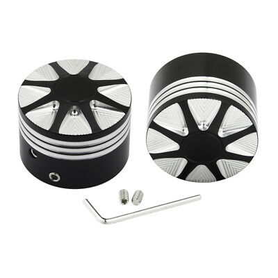 - Deep Cut Front Axle Nut Covers Fit for Harley Fatboy Street Glide Cross Bones