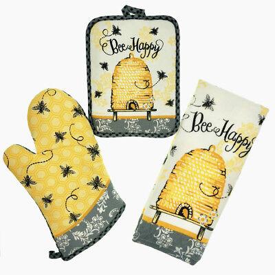 Kay Dee 3 Piece Bee Happy Kitchen Set - Terry Towels, Oven Mitt, Potholder  3 Piece Bee Set