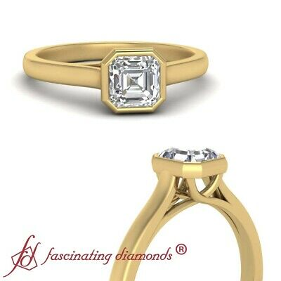 1/2 Carat Asscher Cut VVS1 Diamond Bezel Set Solitaire Engagement Ring For Women