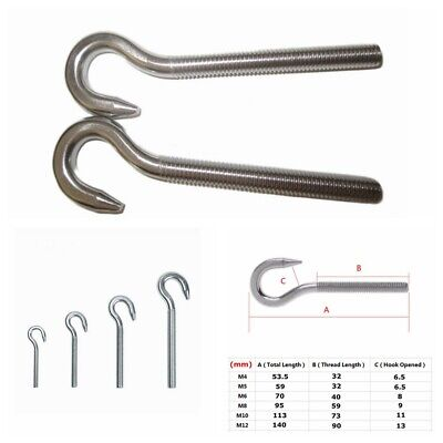 Metric Thread Hook Bolt Eye Bolt 304 Stainless Steel Screw M4 M5 M6 M8 M1 M12