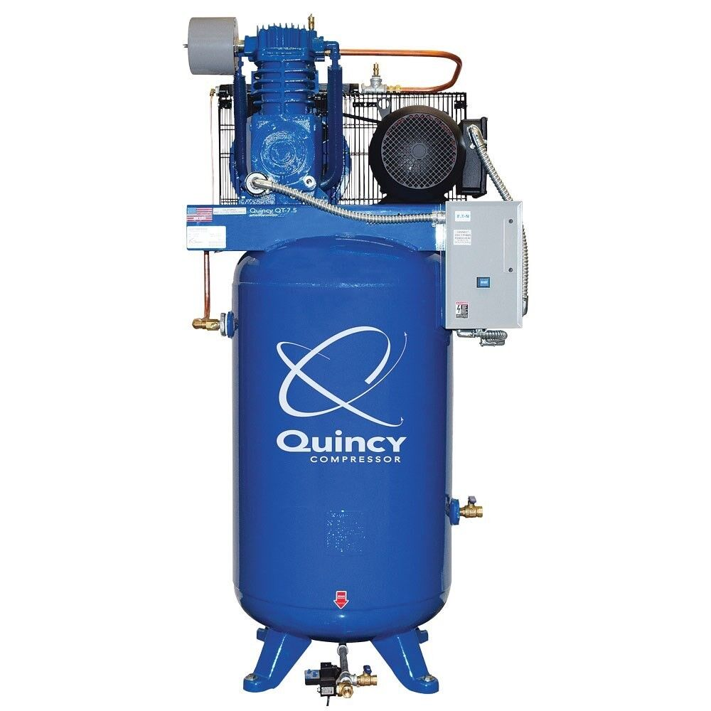 Quincy Max 7.5 HP 2-Stage 80-Gallon Air Compressor, Made in USA #8805-75DS