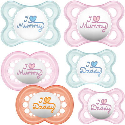 MAM: 2 Schnuller I Love Daddy + I Love Mummy 0-6 + 6-12 Monate rosa+blau Nuckel