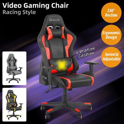 Gaming Chair Racing Office Computer Desk Recliner Seat Massage Swivel Adjustable