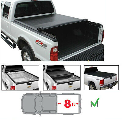 Roll Top Cover Rail - 8ft Tonneau Cover For 15-18 Ford F150 Styleside Bed Soft Blk Vinyl Lock & Roll-