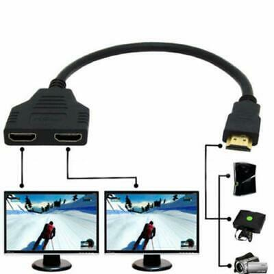 - HDMI Port Male to Female 1 Input 2 Output Splitter Cable Adapter Converter 1080P