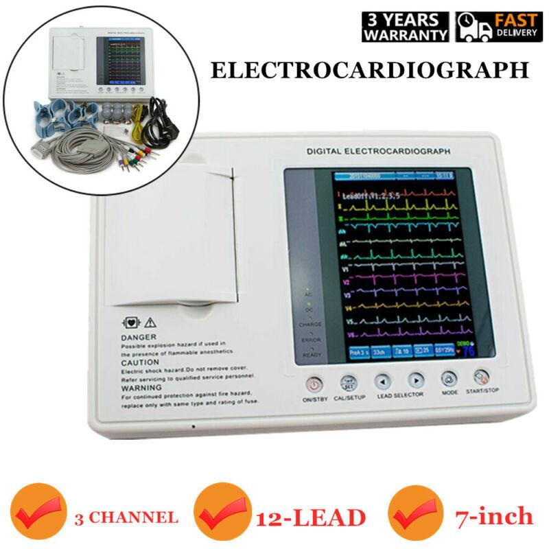 Digital 3-channel 12-lead Electrocardiograph ECG/EKG Machine interpretation FDA