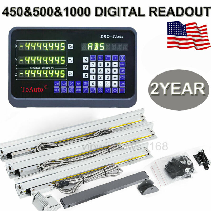 3Axis Digital Readout DRO Linear Glass Scale Bridgeport Mill 450&500&1000mm US