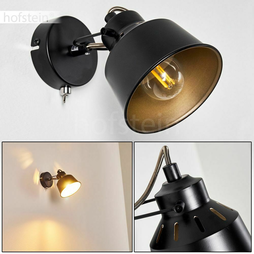 Flur Strahler Vintage Wand Lampen schwarz/gold Schlaf Wohn Zimmer Beleuchtung