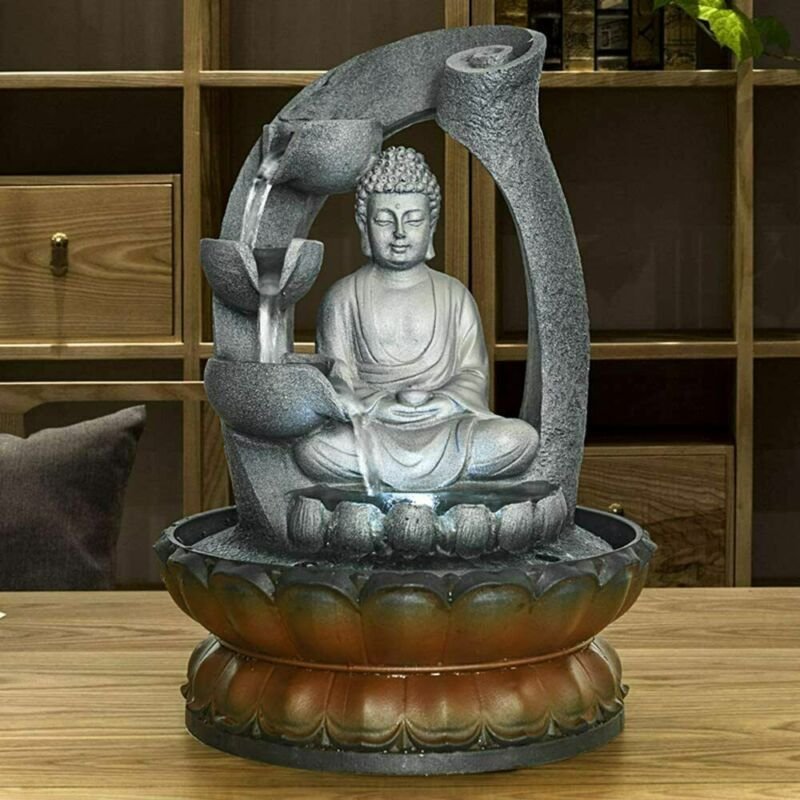 Buddha Tabletop Water Fountain for Home&Office Decoration Decorative with LED