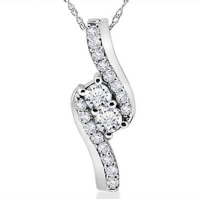 "3/4Ct Forever Us Two Stone Genuine Diamond Pendant 10K White Gold & 18"" Chain"