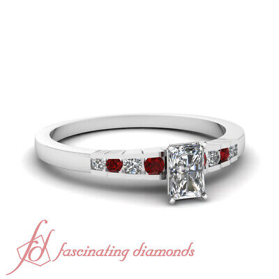 1/2 Ct Engagement Ring With Radiant Cut Diamond And Round Ruby In Platinum GIA
