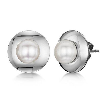 Titan Damen Runde Perle Platte Design Ohrringe Set Damen Kostüm - Ohrringe Damen Kostüm