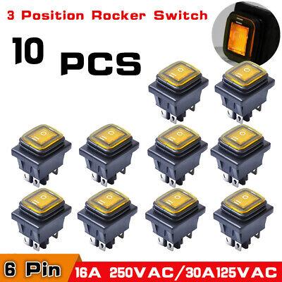 10pcs 3 Position Led 6 Pin Car Boat Rocker Switch On-off-on Dpdt Waterproof 250v