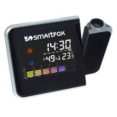 Digitaler LCD Wecker mit Uhrzeit-Projektion farbiges Display + Temperatur Wetter
