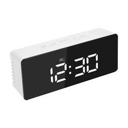 US Alarm Clock Large Digital LED Display Portable Modern Battery Operated Mirror